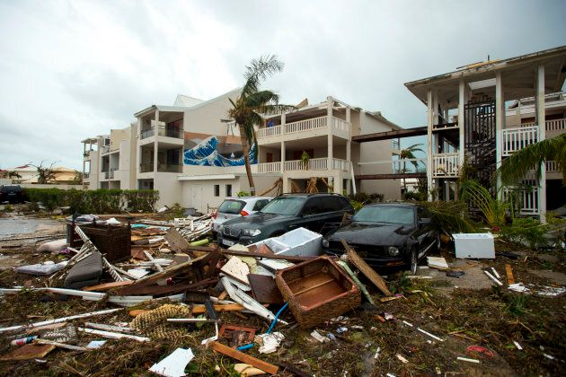 A photo taken on Wednesday shows damage outside the 'Mercure' hotel in Marigot, on the Bay of Nettle,...