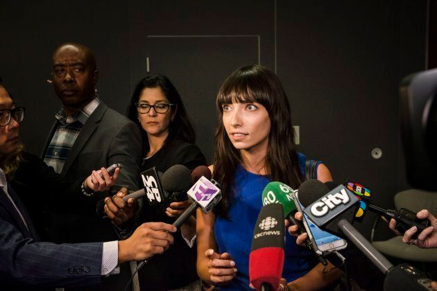 Activist Jodie Emery speaks to reporters about Ontario's solution for recreational marijuana sales in...