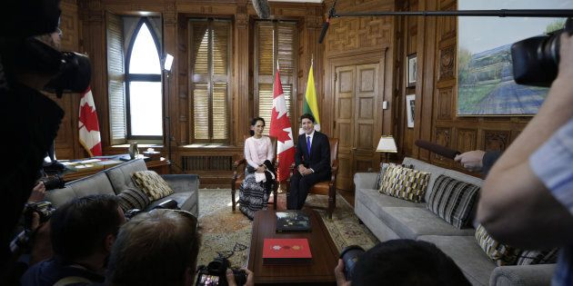 Justin Trudeau meets with Aung San Suu Kyi at Parliament Hill in Ottawa on June 7,