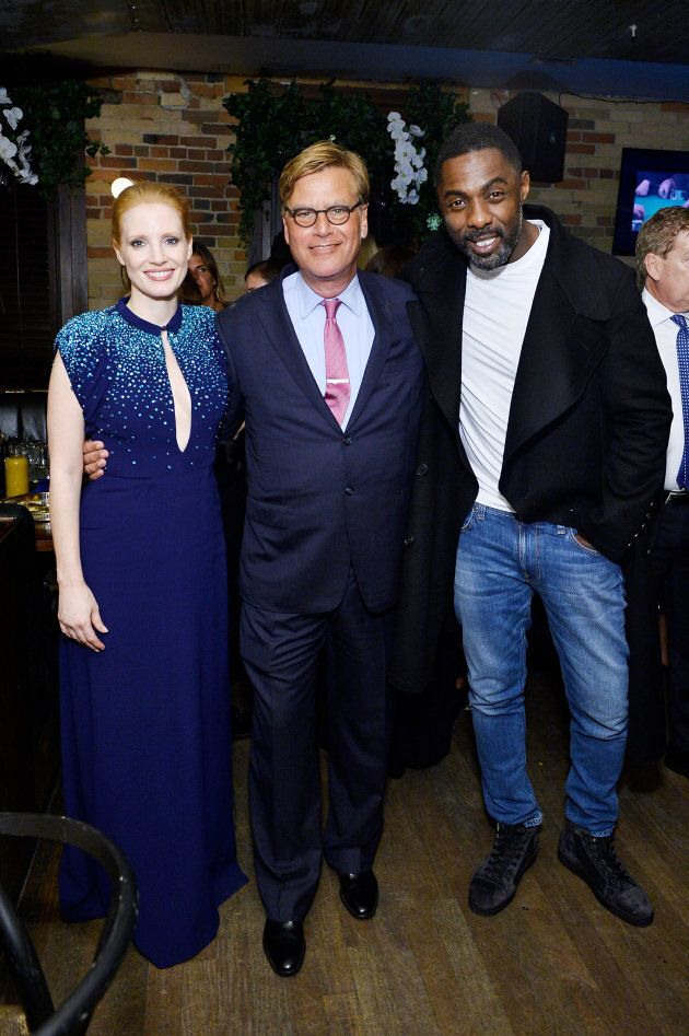Jessica Chastain, Aaron Sorkin and Idris Elba at the MOLLY'S GAME premiere party hosted by Grey Goose...