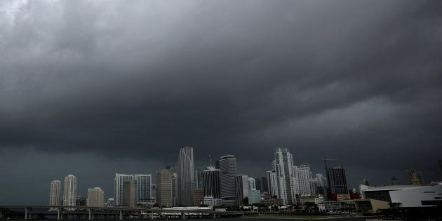 Dark clouds are seen over Miami's skyline prior to the arrival of Hurricane Irma to south Florida on