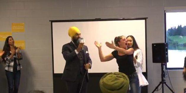 Jagmeet Singh is shown responding to a heckler at an event in Brampton, Ont. on Sept. 6, 2017.