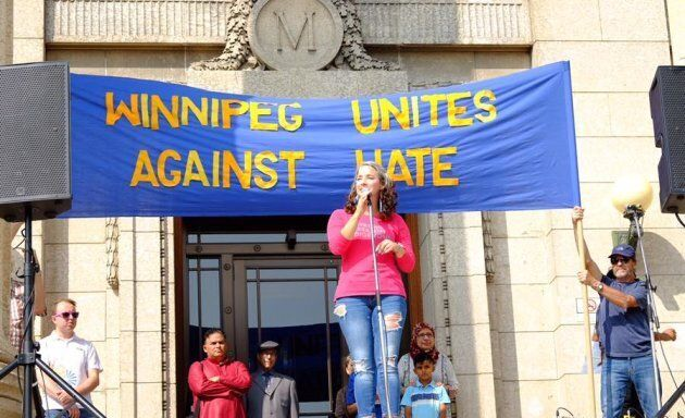Manitoba MLA Nahanni Fontaine addresses the crowd at the Winnipeg Diversity Rally Against Hate on