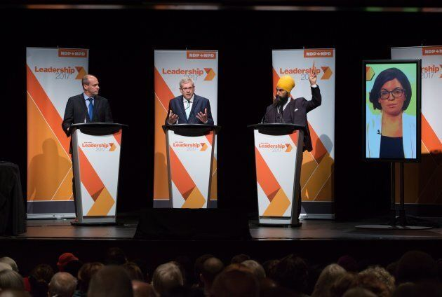 From left to right: Guy Caron, Charlie Angus, Jagmeet Singh and Niki Ashton (via satellite from Ottawa)...