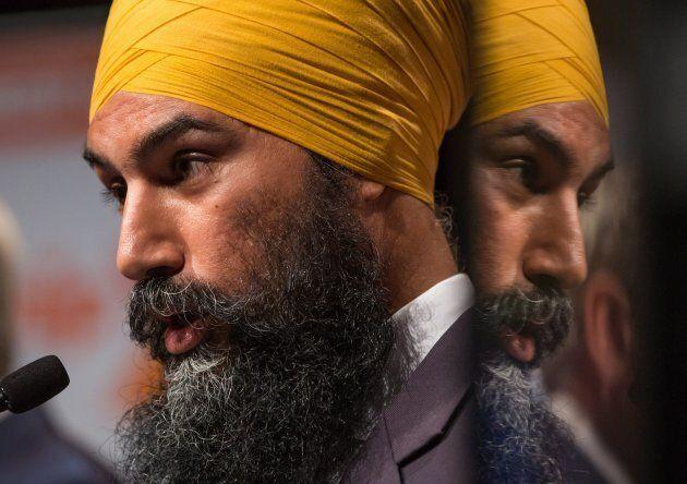 Jagmeet Singh speaks during a federal NDP leadership debate in Vancouver on