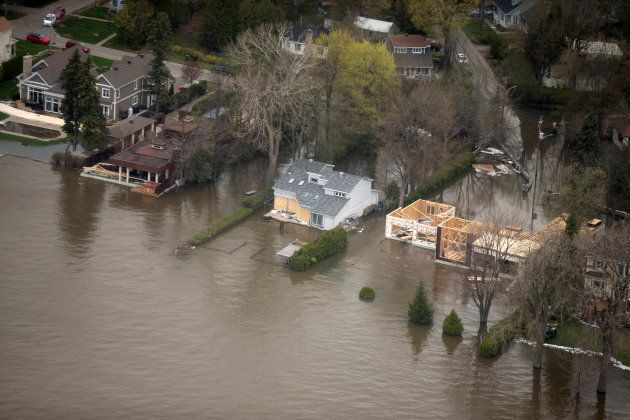 An overhead view showing flooded Deux-Montagnes, Que., on May 11,