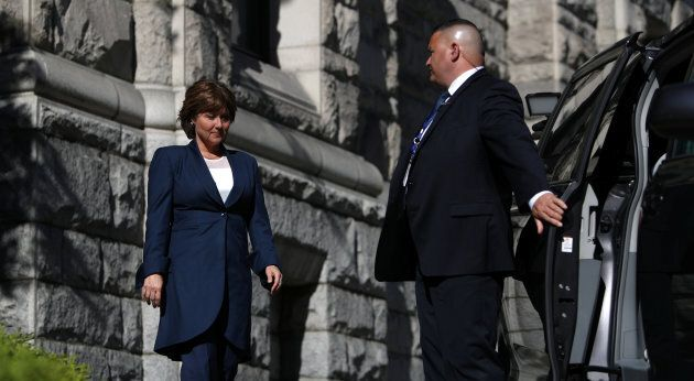British Columbia Premier Christy Clark leaves the legislature after being defeated in a non-confidence...