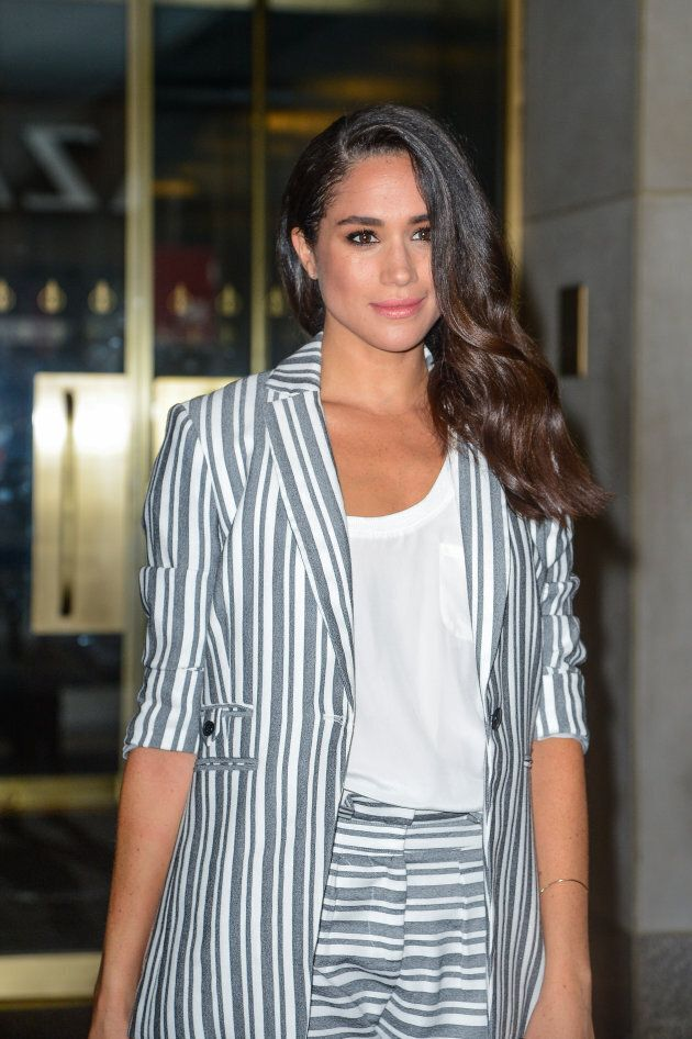 Meghan Markle leaves the 'Today Show' taping at NBC Rockefeller Center Studios on July 14, 2016 in New...