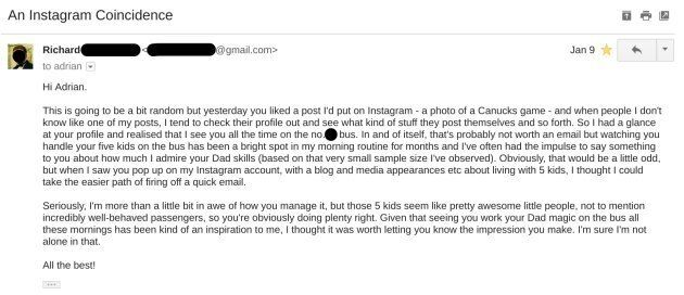 An email from a random fellow bus passenger, complimenting the kids on their transit