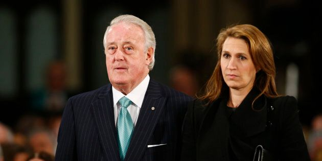 Former Canadian Prime Minister Brian Mulroney (L) and his daughter Caroline Mulroney Lapham arrive for...