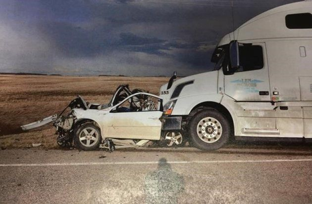 Court exhibit photo shows the aftermath of an accident which killed three teens near Spalding, Sask....