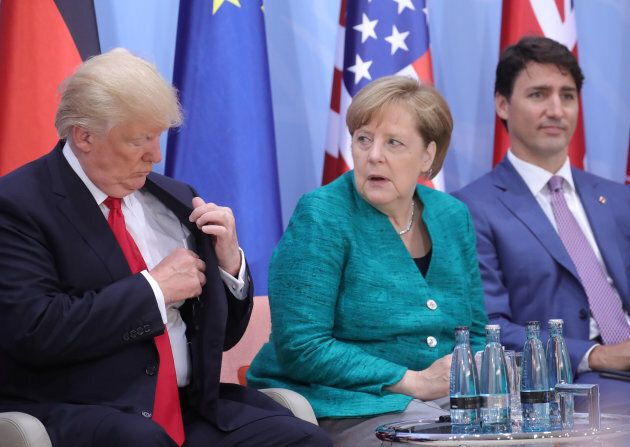 U.S. President Donald Trump, German Chancellor Angela Merkel and Prime Minister Justin Trudeau are shown...