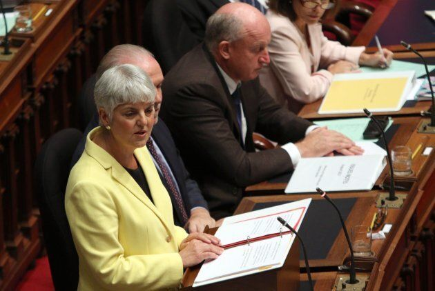 B.C. Finance Minister Carole James delivers the budget from the legislative assembly at Legislature in...
