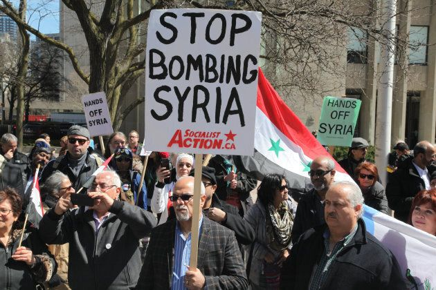 Protest against U.S. President Donald Trump's decision to launch airstrikes against Syria on April 8, 2017 in Toronto, Ont.