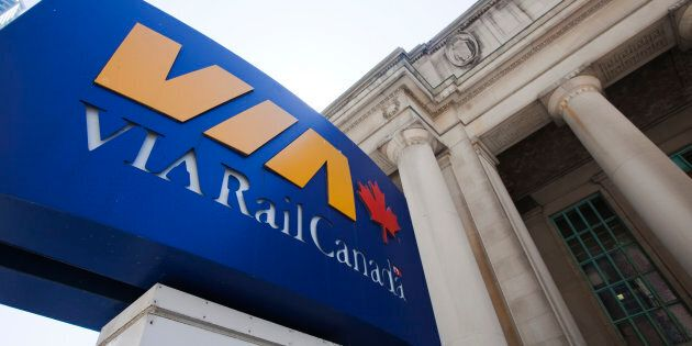 A Via rail sign is seen at Toronto's Union Station July 16,
