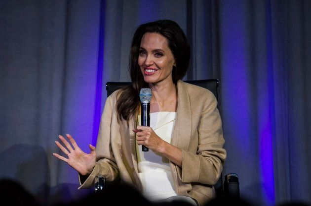Angelina Jolie speaks at the Women in the World Summit in Toronto, on Monday, September 11, 2017. THE...