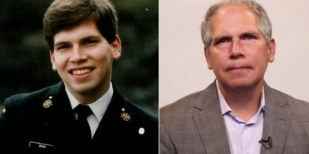 Former sailor Todd Ross is shown in 1989 and 2017.