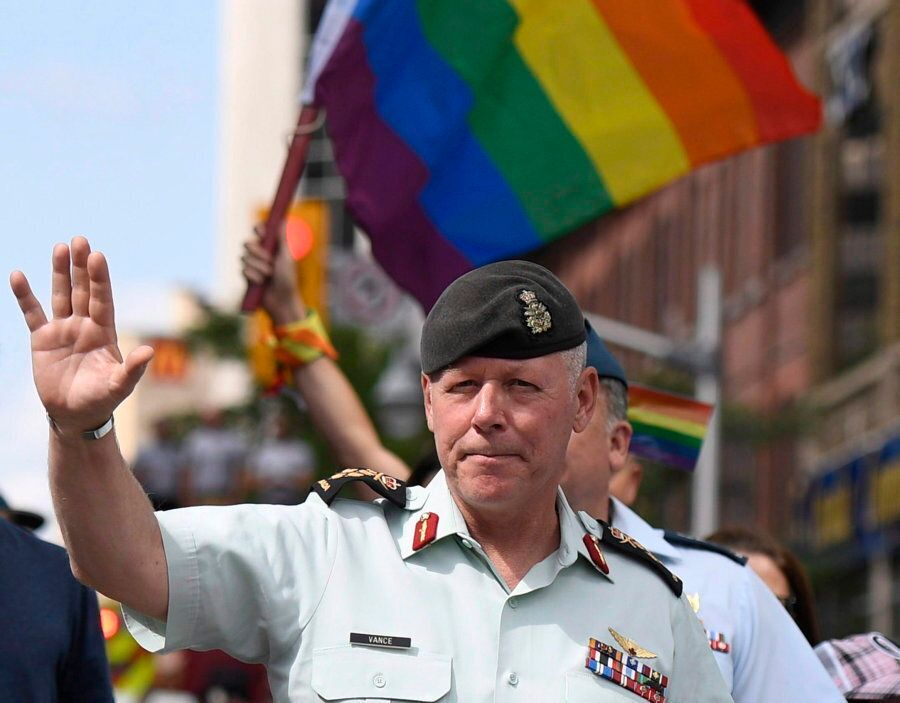 Chief of the Defence Staff Jonathan Vance marched in the Ottawa Pride parade on Aug. 27, 2017. It marked...