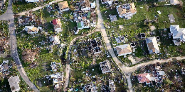 Aerial view of the Codrington lagoon Sept. 22, 2017 in Codrington, Antigua and Barbuda.