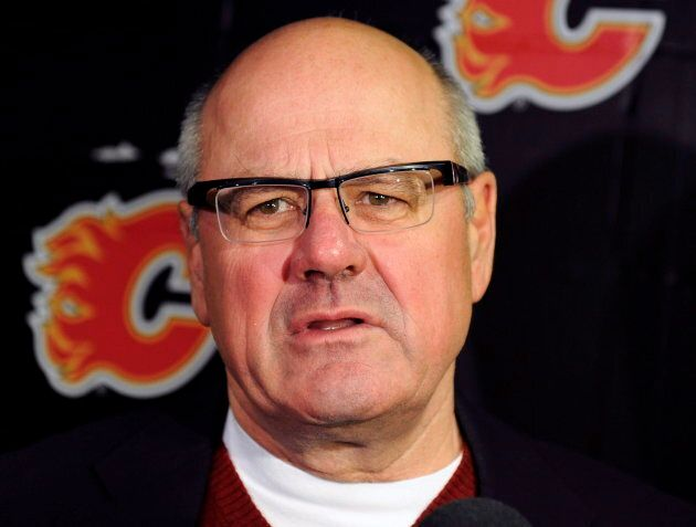Calgary Flames' President and CEO Ken King speaks to the media at the Saddledome in Calgary on Jan. 6,