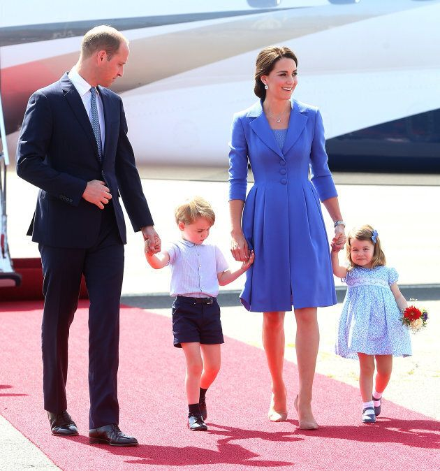 The Duke and Duchess of Cambridge and their children arrive at Berlin's Tegel Airport on July 19, 2017...