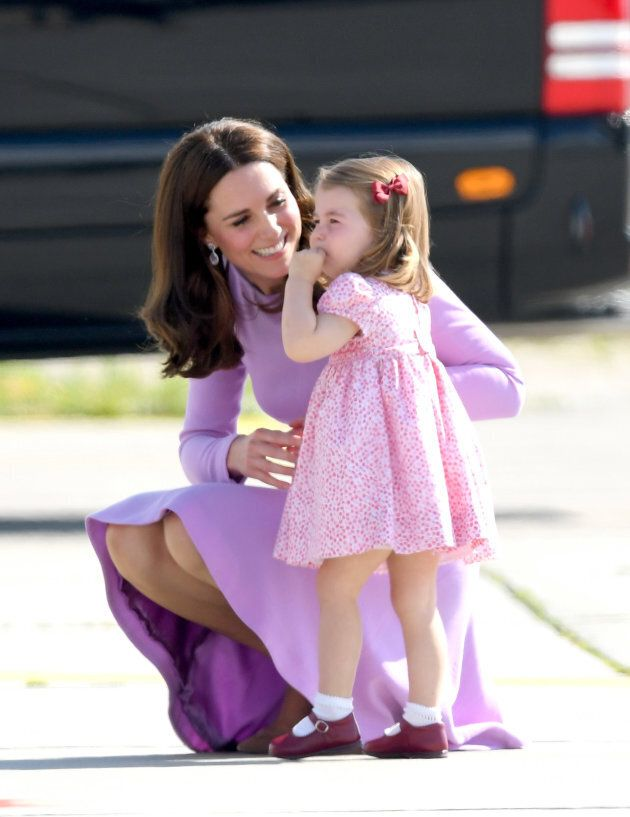 The Duchess and her daughter, Princess Charlotte, at Hamburg airport on July 21, 2017 in Hamburg, Germany. (Photo by Karwai Tang/WireImage)