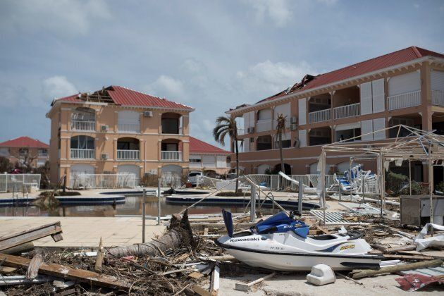 This general view shows the wreckage of a resort in the Baie Nettle area of Marigot on Saint Martin island on Sept. 12, 2017, after it was devastated by Hurricane Irma.