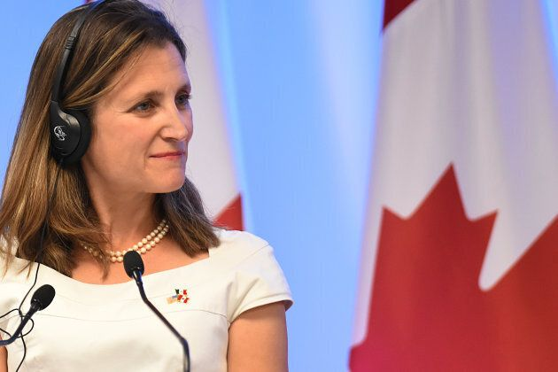 Chrystia Freeland, Minister of Foreign Affairs of Canada, is seen during his speech at meeting with the media as part of the second round of NAFTA negotiations on Sept. 05, 2017 in Mexico City, Mexico.