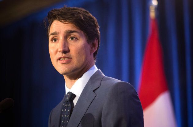 Prime Minister Justin Trudeau speaks to media after the federal Liberal party caucus retreat in Kelowna, B.C., on Thursday, Sept. 7, 2017.