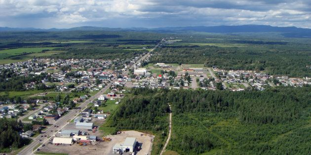 An aerial view of Saint-Honore, Que. is