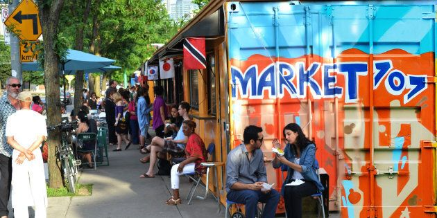 At Toronto's Market 707, up-cycled shipping containers line a once barren stretch of downtown sidewalk....