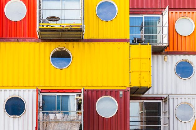 Shipping container homes at Trinity Buoy Wharf, Poplar, London, U.K.