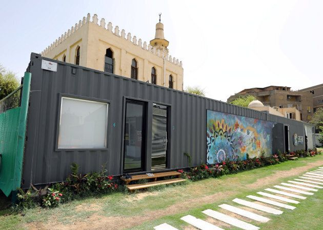 A health club built from repurposed shipping containers in Cairo, Egypt.