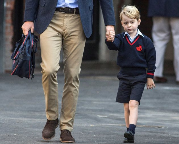 Prince William accompanies his son Prince George on his first day of school at Thomas's school in Battersea,...