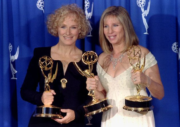 Glenn Close holds the Emmy she received for Best Lead Actress in a Miniseries or Special for her role...