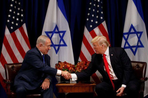 U.S. President Donald Trump meets with Israeli Prime Minister Benjamin Netanyahu in New York, Sept. 18, 2017.