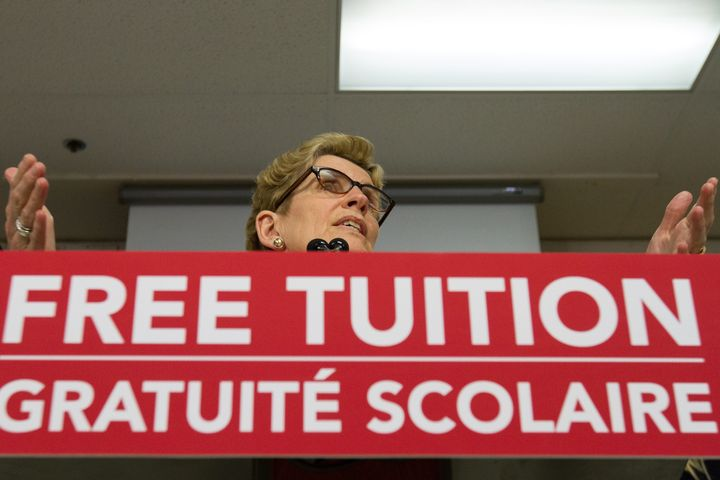 Ontario Premier Kathleen Wynne announces a new free tuition grant for students going into secondary education in Kingston, Ont., on March 31, 2016.