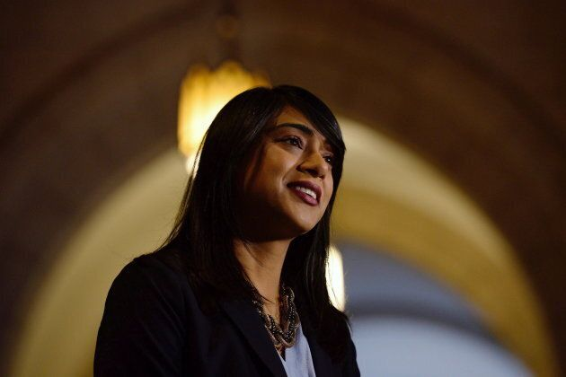Empty halls are seen behind Leader of the Government in the House of Commons Bardish Chagger as she speaks...