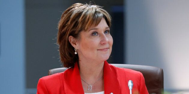 Former B.C. Premier Christy Clark takes part in the First Ministers meeting in Ottawa, Dec. 9,