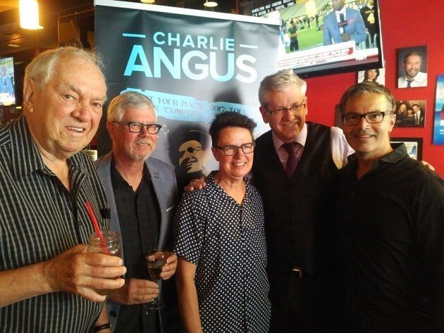 Charlie Angus (second from right) with former NDP leader Ed Broadbent (left), Ottawa city Coun. Catherine McKenney (centre) at a campaign event in Ottawa.