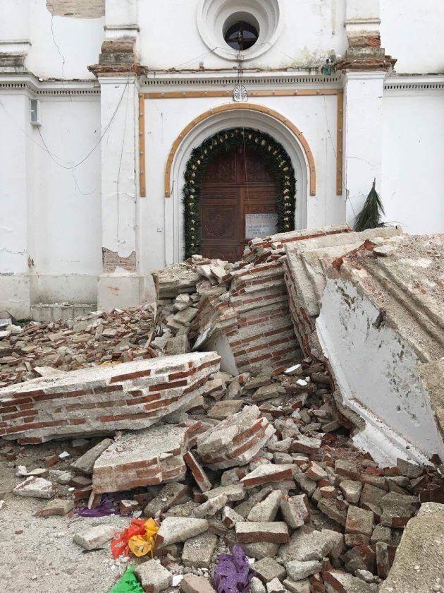 Rubble surrounding an entrance to a church in Zinacantán, a small village near San Cristobal de las