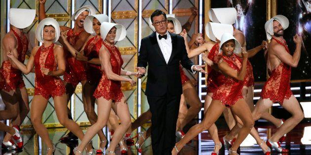Host Stephen Colbert opens the 69th Primetime Emmy Awards Show, Los Angeles, California, Sept. 17, 2017....