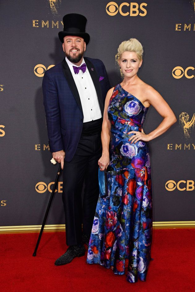 Chris Sullivan and Rachel Reichard attend the 69th Annual Primetime Emmy Awards at Microsoft Theater...