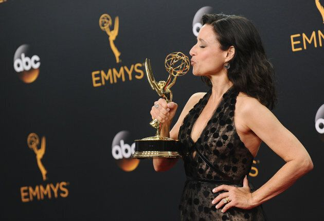 Julia Louis-Dreyfus poses in the press room at the 68th annual Primetime Emmy Awards at Microsoft Theater...