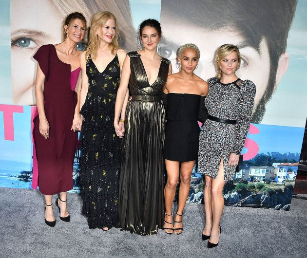 Laura Dern, Nicole Kidman, Shailene Woodley, Zoe Kravitz, Reese Witherspoon arrives at the Premiere Of...