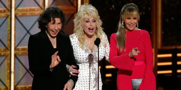 Lily Tomlin, Dolly Parton and Jane Fonda present the award for Outstanding Supporting Actor in a Limited...