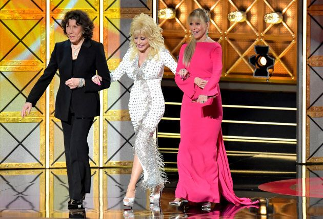 Lily Tomlin, Dolly Parton, and Jane Fonda speak during the 69th Annual Primetime Emmy Awards on September...