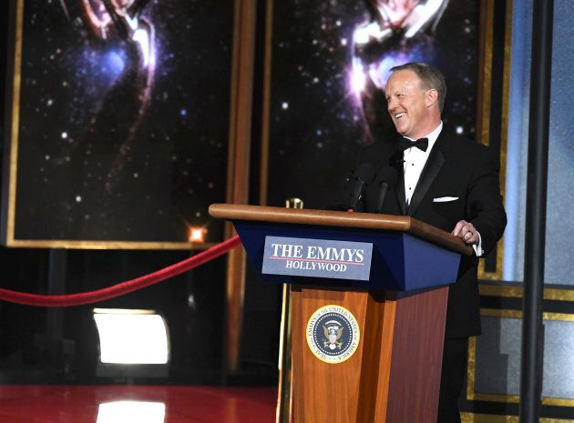 Former White House Press Secretary Sean Spicer speaks onstage during the 69th Annual Primetime Emmy Awards...