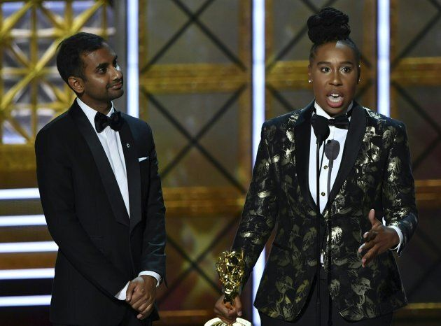 Aziz Ansari and Lena Waithe accept the award for Outstanding Writing for a Comedy Series for 'Master...