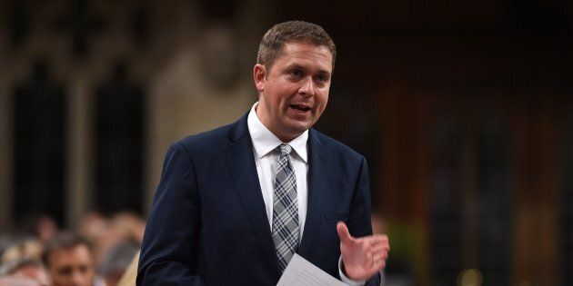 Conservative Leader Andrew Scheer stands during question period in the House of Commons on Parliament...